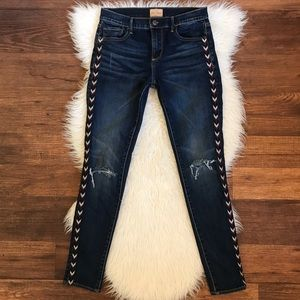 Driftwood Jackie Tribal Piping Ripped Knee Jeans